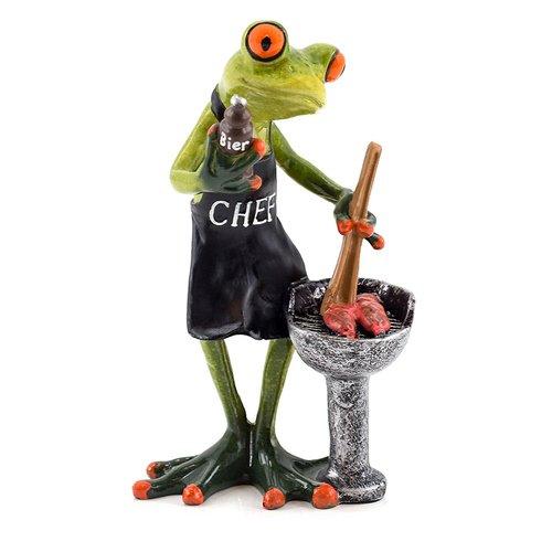 Deko Frosch am Grill mit Bier, Dekofigur Frosch, hellgrün, Höhe ca. 16cm