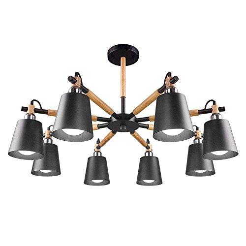 6/3 Lite Kronleuchter Lampe (HYW Deckenleuchte - Nordic kreative Massivholz Lampe Körper Eisen Lampenschirm schwarz hoher Licht Kronleuchter einfache Studie 3/6/8-Lampe -Home warme Deckenleuchte,B-8-lights-Dreifarbiges Dimmen)