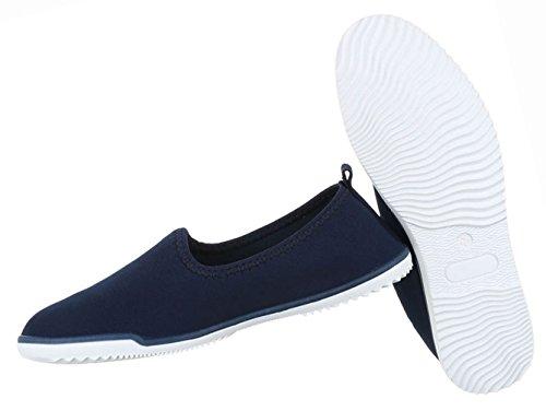 Damen Schuhe Halbschuhe Slipper Freizeitschuhe Rosa Dunkelblau