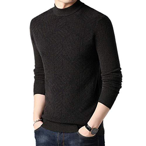 Tcsing Herren farblich passenden Pullover Herbst und Winter Strick Rundhals Langarm Pullover weich warm und bequem lässige Mode,Braun,XL