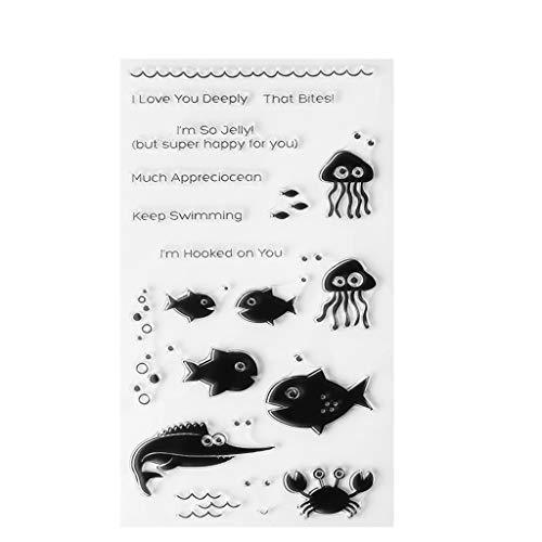 HULE Marine Fisch Clear Stempel Silikon Siegel Blatt DIY Scrapbook Tagebuch Album Foto S1 -