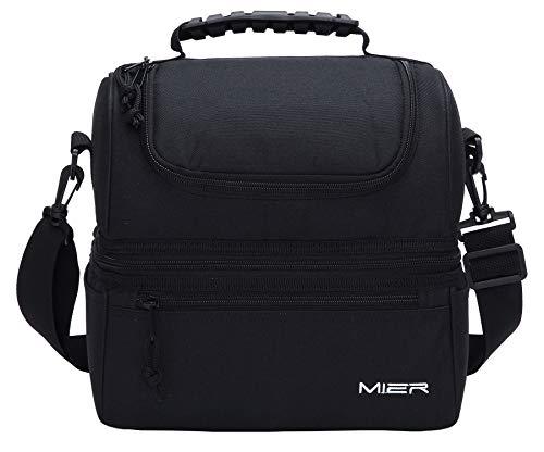 Mier insulated lunch box grande inserto kit da pranzo freddo con borsa in pelle per uomini, donne, doppio piatto cooler (nero)