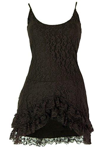 Psytrance Minikleid, Goa Elfen Kleid mit Spitze / Kurze Kleider Braun
