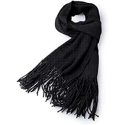 Hombres De Otoño E Invierno Tassel Sólido Bufandas Calientes, Caliente Moda Casual Hombres Bufanda ( Color : Negro )