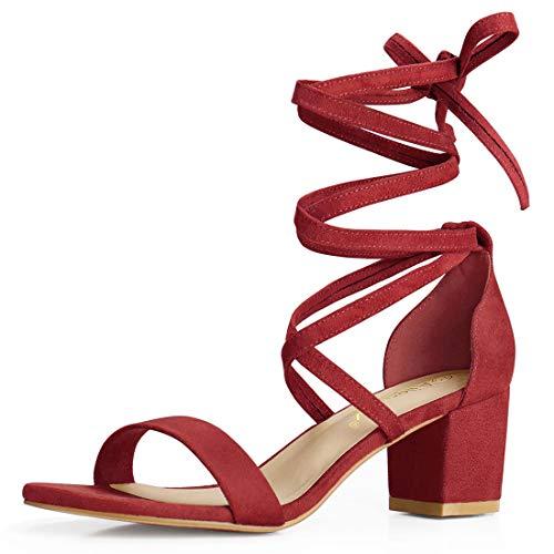 Allegra K Damen Sommer offene Zehen Schnuerschuh mittlere Sandalen Blockabsatz Rot-1 39 EU/Label Size 8.5 US - 6-zoll-sexy High Heels