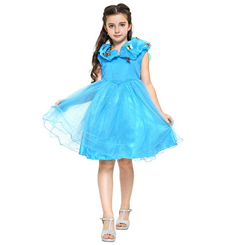 Katara 1686 - Cinderella, Aschenputtel Kostüm-Kleid in blau für Mädchen / Kinder von 2-10 Jahren mit Schmetterlingen und viel Tüll für Karneval, Fasching, Halloween oder Geburtstagsparty