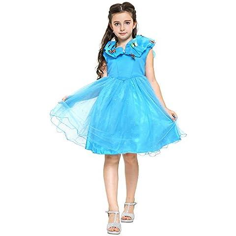 Cenicienta - Vestido para niña para niña, color azul, 4-5 años  (Katara 1686)