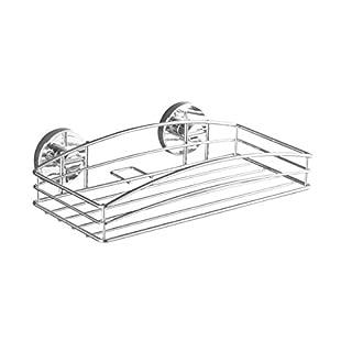 WENKO 20883100 Vacuum-Loc Wandablage, Befestigung ohne bohren, Stahl, 26 x 6.5 x 14 cm, Chrom