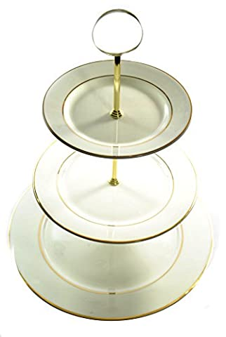 Bone China 3 Tier WHITE & GOLD Cake stand (White and gold french edge) Hand guilded in Staffordshire, England