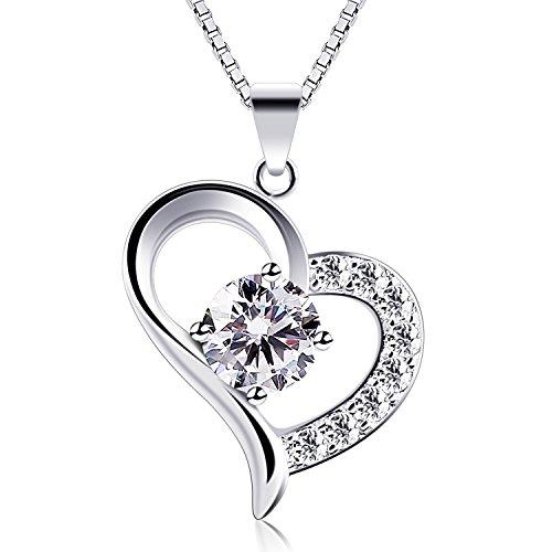 B.Catcher Kette Damen Herz Halskette 925 Sterling Silber Anhänger Liebe und Dauerhaft Schmuck 45CM Kettenlänge Geschenk für Damen