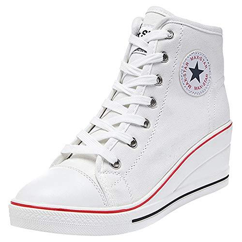 2f97b30d49b Mujer cuñas zapatos de lona high-top zapatos casuales encaje 6cm tacón cuña