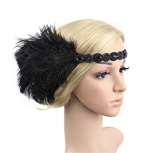 Haarbands,Sasstaids 1920er Jahre Kopfschmuck Feder Flapper Stirnband Great Gatsby Headdress Vintage