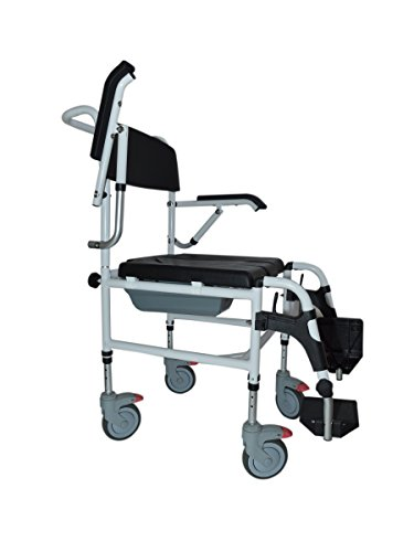 Height adjustable aluminium wheelchair combined with shower chair and commode