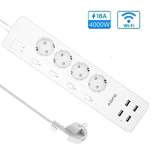 AOFO Intelligente Steckdosenleiste Fernsteuerung Smart WLAN Mehrfachsteckdose mit Überspannungsschutz mit 4 unabhängig AC Ausgänge und 4 USB Anschlüsse Kompatibel mit Google Home und IFTTT