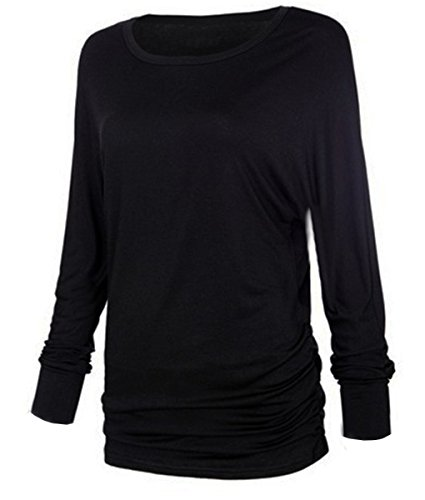 iMELY Damen Shirt Casual Blusen O Neckline Loose Fit Fashion Top Tee T-Shirts Schwarz-1