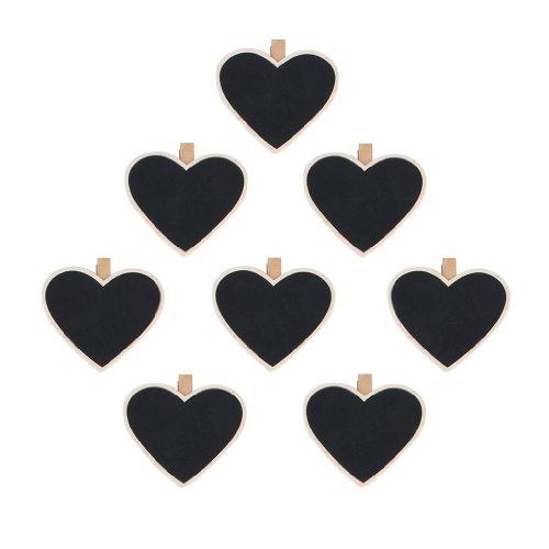 8Pcs Heart-Shape Blackboard Wooden Pegs Photo/Note/Paper Clips