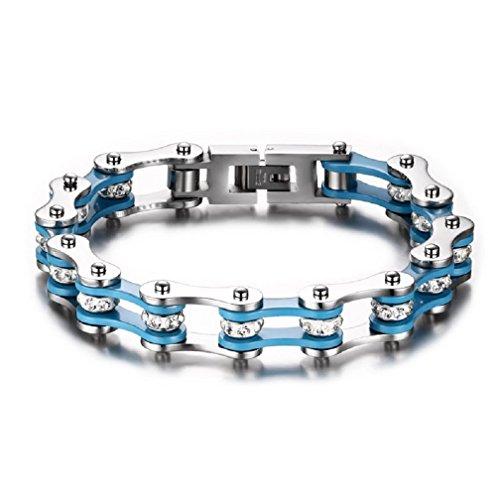 Uomo Gioielli 316L Acciaio inossidabile Bracciale da Uomo, Catena di Bicicletta, Acciaio, Lucidato a Specchio con diamante Blu