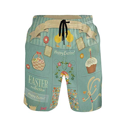 KAKICSA Men's Summer ShortsEaster Themed Rabbit Ornamental Eggs Cupcake and Bask,Size:M Carters Cupcake