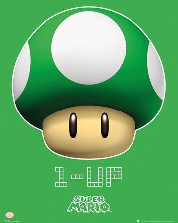 1 UP - Pilz Super Mario Nintendo Poster Plakat Bild (Super Mario Space)
