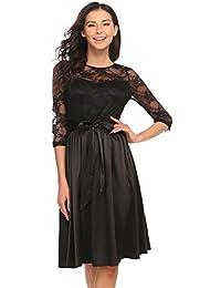 Chigant Damen Elegantes Spitze Kleid Vintage Retro Brautjungfernkleid  Abendkleider Partykleider Frühling c78ac45b1c