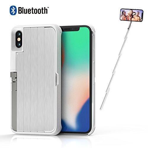 ETROBOT Selfie Stick Custodia per iPhone x 3in 1iPhone x Case con Ricaricabile Senza Fili Bluetooth allungabile Selfie Stick cavalletto in Alluminio del Supporto Antiurto Rigida di Protezione Nero