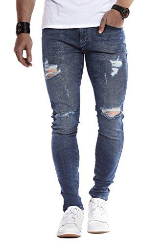 Leif Nelson Herren Jeans Hose Slim Fit Denim Blaue graue Lange Jeanshose für Männer Coole Jungen weiße Stretch Freizeithose Schwarze Cargo Chino Sommer Winter Basic LN9150 Dunkel Blau W36/L32