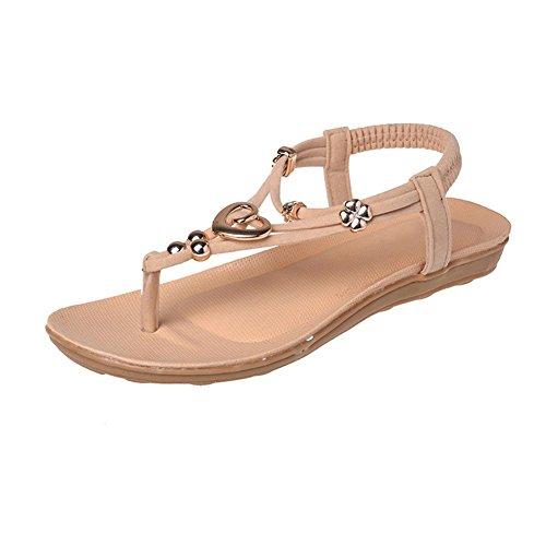 Femme Chaussure De Plage Plate Sandales Chic En Bohême Style Faux Diamant Chaussures Accessoires De Vacances Sandales