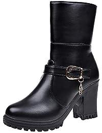 Winter Boots Damen,Elecenty Frauen Lederstiefel Damenschuhe Blockabsatz Halbschaft Stiefel Absatzschuhe Kurzschaft Plateauschuhe Stiefeletten