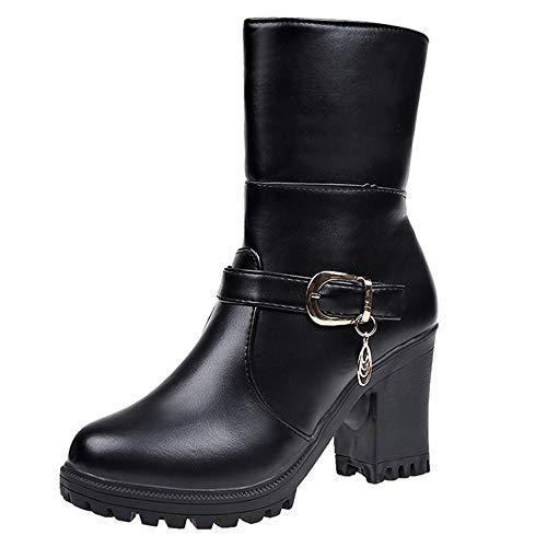 Beautyjourney Bottes Boot Femme Pas Cher, by Shoes Peep Toes Bottines Art Chaussures Baskets Femme Blanche Bottine Bottes Rondes en Cuir à Talons Hauts Chaussures Pliantes