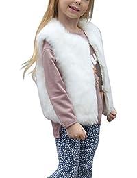 Longra Kinder Mädchen Winter Weste Ärmellose Kunstpelz Jacken Weste Warm Jacke Pelzweste Parka Pelzjacke Outwear Windbreaker Wintermantel Woolmantel (3-8Jahre)
