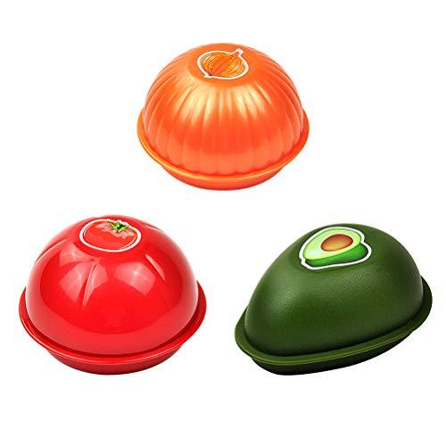 BESTONZON Organizador Almacenamiento para Alimento en Forma de Fruta Contenedores de Almacenamiento de Alimentos 3 Piezas (Aguacate, Cebolla, Tomate )