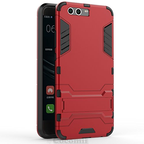 Huawei P10 Funda, Cocomii Iron Man Armor NEW [Heavy Duty] Premium Tactical Grip Kickstand Shockproof Hard Bumper Shell [Military Defender] Full Body Dual Layer Rugged Cover Case Carcasa (Red)