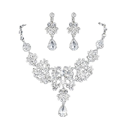 - 41SQBbURpQL - Women's Wedding Jewellery Sets Fashion Bride Earrings & Pendant Necklace