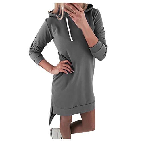 TAMALLU Sweater Outwear Coat Brief Übergröße Kapuzenpullover Einfarbigs Lange Sweatshirt(Grau,XL) -