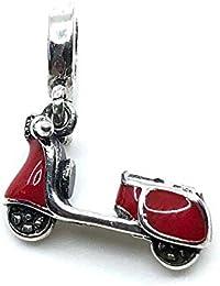 Charm esmaltado moto Vespa 100% Plata de Ley 925 para pulseras para charms tipo Pandora, Chamilia, Biagi, Swarovski. Abalorios beads dijes charm colgante plata Motocicleta Vespa