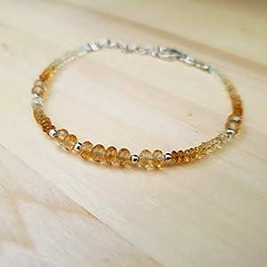 Citrin Rondelle Perlen Armband mit 925 Silber Erkenntnisse minimalistischen Armband Edelstein Schmuck