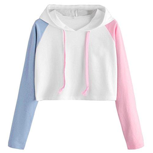 Amlaiworld damen bunt Flickwerk Langarm Kapuzenpulli warm mode Bluse Herbst Freizeit pullover Mädchen locker kurz bauchfrei Sweatshirt (S, Weiß) (Weiße Mädchen-raglan-t-shirt)
