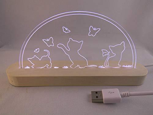 LED Bogen Schwibbogen Leuchterbogen Spielende Katzen USB Motivlampe Motivleuchte