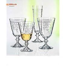Bohemia Kristall Weingläser BELLA mit edler Pantographie, 260 ml, 6 - Set