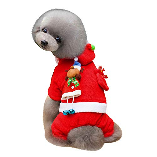 Amphia Haustier Kostüm - Kleidung, Alter Mann, Hundebekleidung, Kleidung,Weihnachtsdekoration Haustier Hund Katze Winter warme Mantel Kostüm Bekleidung(Rot,L) (Alter Mann Winter Kostüm)