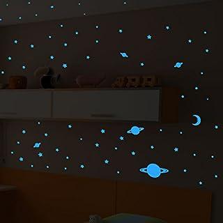 Ambiance-Live Wandtattoo Univers-150Sterne und Planeten Gartenweg, Leuchtplatten blauen