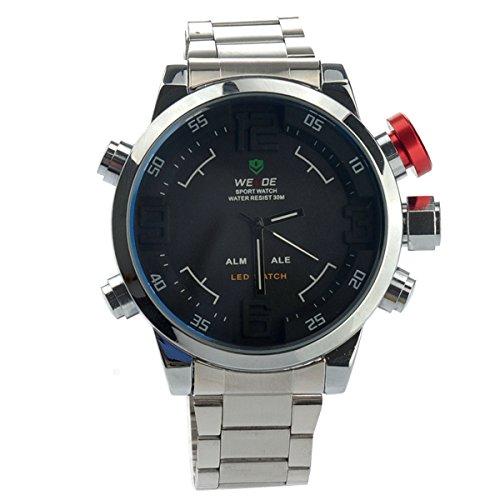 WEIDE militares relojes hombres marca de lujo LED Analog-Digital Display reloj deportivo reloj de pulsera de cuarzo de Japón Miyota multi-función pantalla LED, esfera