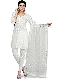 Rani Saahiba Women's Dupatta (SKRDD1035_White_One Size)