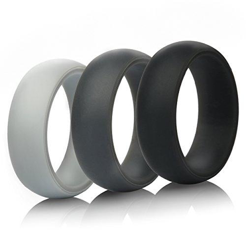 Herren Silikon Hochzeit Ring Hochzeit Band–3Ringe Pack–8,7mm breit (2mm dick), schwarz, grau, hellgrau (Hochzeit Band Ring-sizer)