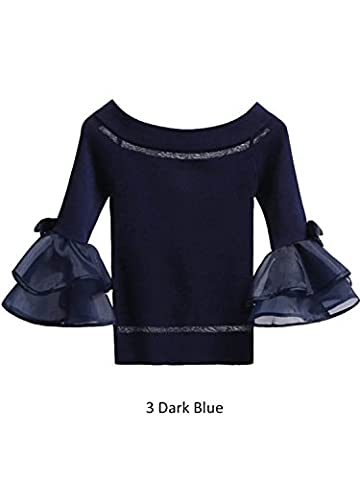 Simplee Apparel Women's Stripe Off Shoulder Knit Ruffle Long Sleeve Top Shirt Jumper Blue Size UK 6-12