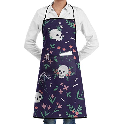 Skull Kostüm Womens - dfgjfgjdfj Skull Floral Schürze Lace Adult Mens Womens Chef Adjustable Polyester Long Full Black Cooking Kitchen Schürzes Bib with Pockets for Restaurant Baking Crafting Gardening BBQ Grill