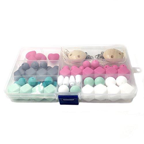 Coskiss Silicone legno Beads dentizione Nursing collana fai da te silicone dentizione Kit geometrica esagonale (Gomma Da Masticare Rosa Pelle)