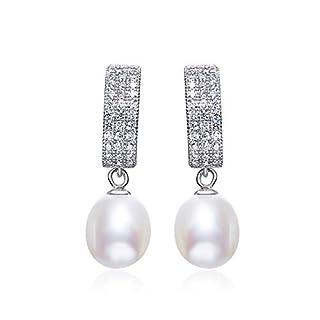 Gnzoe - Women Ladies 925 Sterling Silver Earrings Created-Pearl & Cz Drop Earrings White
