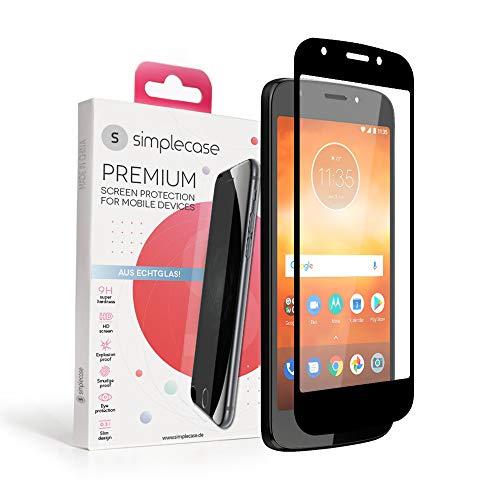 Simplecase Panzerglas passend zu Motorola Moto E5 Play , FULL SCREEN Premium Bildschirmschutz , 100prozent Abdeckung , Optimaler Schutz , Extra Härtegrad 9H , Schwarz - 1 Stück