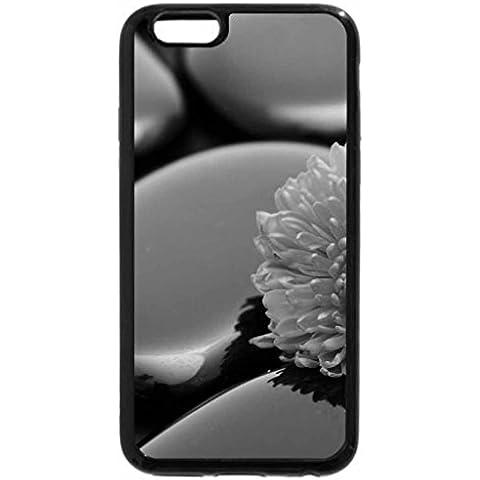 iPhone 6S Plus funda, iPhone 6Plus Case (blanco y negro)–flores en piedras